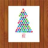 Vrolijke Kerstmis en de Gelukkige die kaart van de Nieuwjaargroet, Kerstboom van waterverfcirkels wordt gemaakt De Boom van water Royalty-vrije Stock Afbeeldingen