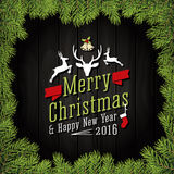 Vrolijke Kerstmis en de Gelukkige kaart van de Nieuwjaar 2016 Groet Stock Afbeeldingen
