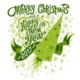 Vrolijke Kerstmis en de Gelukkige kaart van de Nieuwjaar 2017 Groet Stock Afbeeldingen