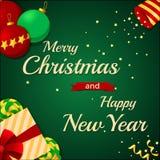Vrolijke Kerstmis en de Gelukkige kaart van de Nieuwjaar 2017 Groet Stock Foto's