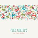 Vrolijke Kerstmis en de Gelukkige kaart van de Nieuwjaargroet Royalty-vrije Stock Afbeelding