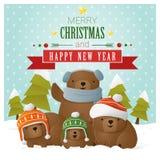 Vrolijke Kerstmis en de Gelukkige kaart van de Nieuwjaargroet met beerfamilie vector illustratie