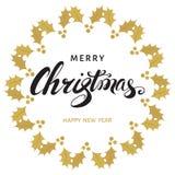 Vrolijke Kerstmis en de Gelukkige kaart van de Nieuwjaargroet met het van letters voorzien Royalty-vrije Stock Fotografie