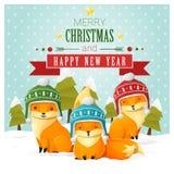 Vrolijke Kerstmis en de Gelukkige kaart van de Nieuwjaargroet met vosfamilie Stock Foto's