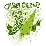Vrolijke Kerstmis en de Gelukkige kaart van de Nieuwjaar 2018 groet Geïsoleerde vectorillustratie, affiche, invitat Stock Foto