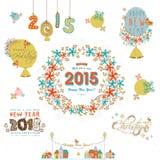 Vrolijke Kerstmis en de Gelukkige kalligrafie van Nieuwjaarvieringen en Royalty-vrije Stock Foto's