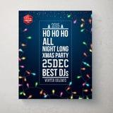 Vrolijke Kerstmis en de Gelukkige nieuwe affiche van de jaarpartij stock illustratie
