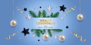 Vrolijke Kerstmis en de gelukkige nieuwe banner van de jaargroet royalty-vrije illustratie