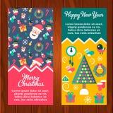 Vrolijke Kerstmis en de gelukkige nieuwe banners van de jaarwinter Stock Afbeeldingen