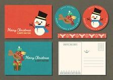 Vrolijke Kerstmis en de Gelukkige nieuwe die kaart van de jaargroet met cartoo wordt geplaatst stock foto's