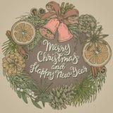 Vrolijke Kerstmis en de gelukkige nieuwe kaart van de jaargroet met kroon Stock Afbeelding
