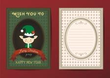 Vrolijke Kerstmis en de Gelukkige nieuwe kaart van de jaar vectorgroet Stock Afbeelding