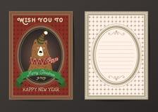 Vrolijke Kerstmis en de Gelukkige nieuwe kaart van de jaar vectorgroet Stock Foto