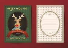 Vrolijke Kerstmis en de Gelukkige nieuwe kaart van de jaar vectorgroet Royalty-vrije Stock Afbeelding
