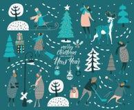 Vrolijke Kerstmis en de gelukkige Nieuwe kaart van de jaar vectorgroet met de winterspelen en mensen Vieringsmalplaatje met de wi Stock Foto's