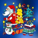 Vrolijke Kerstmis en de gelukkige nieuwe prentbriefkaar van het het jaarbeeldverhaal van 2016 Royalty-vrije Stock Afbeeldingen