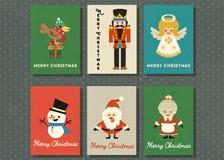 Vrolijke Kerstmis en de gelukkige nieuwe reeks van de de kaartinzameling van de jaargroet royalty-vrije stock afbeelding
