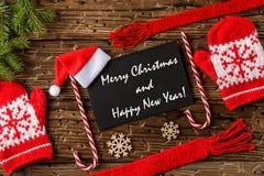 Vrolijke Kerstmis en de Gelukkige prentbriefkaar van Nieuwjaargroeten stock foto