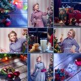 Vrolijke Kerstmis en de nieuwe die collage van het jaarthema uit verschillende beelden wordt samengesteld Stock Afbeelding