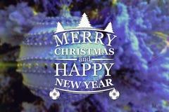 Vrolijke Kerstmis en de nieuwe kaart van de jaargroet Stock Afbeelding