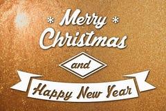 Vrolijke Kerstmis en de nieuwe kaart van de jaargroet Royalty-vrije Stock Foto