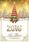 Vrolijke Kerstmis en een gelukkig nieuw jaar 2016 Stock Foto's