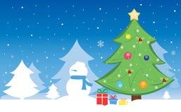 Vrolijke Kerstmis en een gelukkig nieuw jaar met sneeuwman Stock Fotografie
