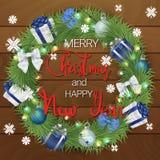 Vrolijke Kerstmis en een Gelukkig Nieuwjaar Een feestelijke die kroon van naaldtakken en Kerstmisdecoratie wordt gemaakt Kerstmis vector illustratie