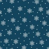 Vrolijke Kerstmis en een Gelukkig Nieuwjaar! Een reeks naadloze achtergronden met traditionele symbolen: sneeuwvlokken op een bla royalty-vrije illustratie