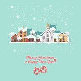 Vrolijke Kerstmis en een Gelukkige kaart van de Nieuwjaar vectorgroet in modern vlak ontwerp Kerstmisstad Stock Fotografie