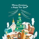 Vrolijke Kerstmis en een Gelukkige kaart van de Nieuwjaar vectorgroet in modern vlak ontwerp Kerstmisstad Groene Achtergrond Royalty-vrije Stock Fotografie