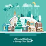 Vrolijke Kerstmis en een Gelukkige kaart van de Nieuwjaargroet in modern vlak ontwerp Sneeuwdorp Stock Fotografie