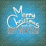 Vrolijke Kerstmis en een Gelukkige Nieuwjaarskaart Stock Foto's