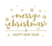 Vrolijke Kerstmis en een Gelukkige vector van de Nieuwjaar mooie kaart Stock Foto's