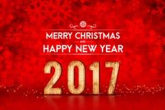 Vrolijke Kerstmis en Gelukkig nieuw jaar 2017 aantal bij het rode fonkelen Stock Foto