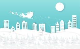 Vrolijke Kerstmis en Gelukkig nieuw jaar, de witte winter met Santa Clau royalty-vrije illustratie