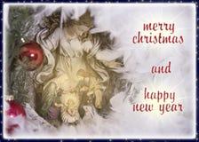 vrolijke Kerstmis en gelukkig nieuw jaar die buitensporige kaart begroeten Stock Afbeelding