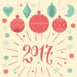 2017 Vrolijke Kerstmis en Gelukkig nieuw jaar! Groetkaart met Kerstmisdecoratie Stock Foto's
