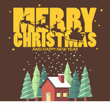 Vrolijke Kerstmis en Gelukkig nieuw jaar met de winterhuis Royalty-vrije Stock Fotografie