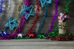 Vrolijke Kerstmis en gelukkig nieuw jaar, stilleven Stock Fotografie