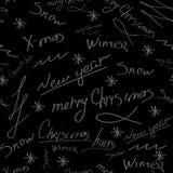 Vrolijke Kerstmis en gelukkig Nieuw jaar-van letters voorziend simless patroon Vector illustratie royalty-vrije illustratie
