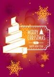 Vrolijke Kerstmis en gelukkig nieuw jaar vectormalplaatje van Kaart Stock Foto's