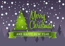 Vrolijke Kerstmis en gelukkig nieuw jaarconcept groetkaart of affiche Stock Afbeeldingen
