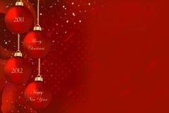 Vrolijke Kerstmis en Gelukkig Nieuwjaar 2011 2012 Stock Foto