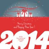 Vrolijke Kerstmis en Gelukkig Nieuwjaar 2014! Royalty-vrije Stock Afbeeldingen