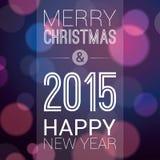 Vrolijke Kerstmis en Gelukkig Nieuwjaar 2015 Stock Foto's