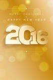 Vrolijke Kerstmis en Gelukkig Nieuwjaar 2016 Stock Afbeelding