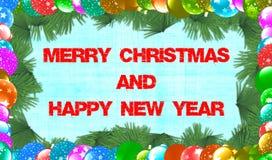 Vrolijke Kerstmis en Gelukkig Nieuwjaar Stock Fotografie