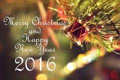 Vrolijke Kerstmis en Gelukkig Nieuwjaar 2016 Stock Afbeeldingen