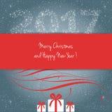Vrolijke Kerstmis en Gelukkig Nieuwjaar 2017 Stock Foto's